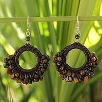 Tiger's eye dangle earrings, 'Bangkok Bounty' - Crocheted Tiger's Eye Beaded Earrings