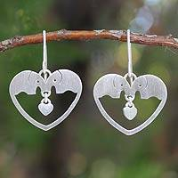 Sterling silver heart earrings, 'Elephants in Love'