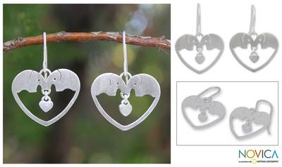 Sterling silver heart earrings, 'Elephants in Love' - Sterling Silver Dangle Earrings
