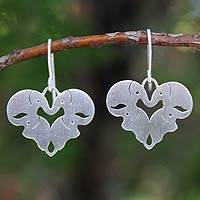 Sterling silver heart earrings, 'Sweetheart Elephants' - Unique Sterling Silver Elephant Dangle Earrings