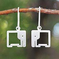 Sterling silver dangle earrings, 'Naif Elephants'