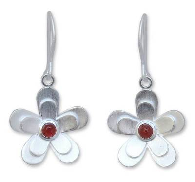 Hand Crafted Sterling Silver and Carnelian Dangle Earrings