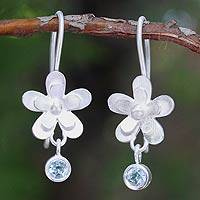 Blue topaz flower earrings, Frangipani Dew