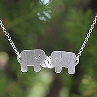 Sterling silver pendant necklace, 'Elephant Friendship' - Sterling Silver Pendant Necklace