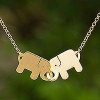 Gold plated pendant necklace, 'Elephant Friendship'