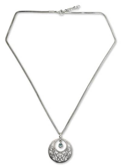 Sterling Silver and Blue Topaz Pendant Necklace