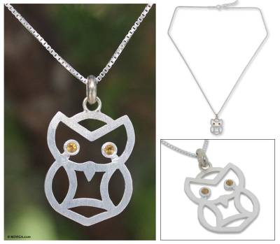 Citrine pendant necklace, 'Bright Owl' - Hand Crafted Sterling Silver and Citrine Bird Necklace