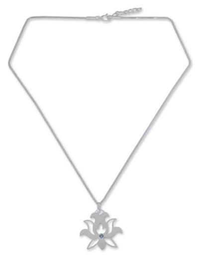 Fair Trade Blue Topaz Flower Necklace
