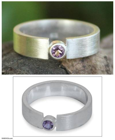 sterling silver j necklace - Amethyst and Silver Solitaire Ring