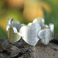 Sterling silver heart ring, 'Much Love'