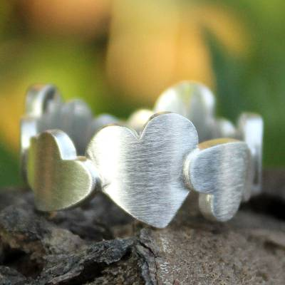 Sterling silver heart ring, 'Much Love' - Sterling Silver Heart Ring