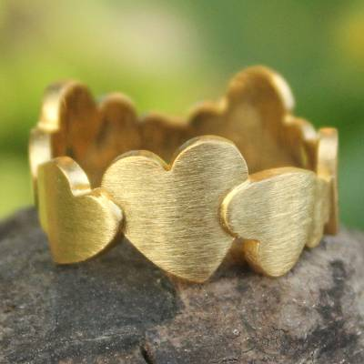 om ring silver bells ring - Heart Shaped Gold Plated Band Ring