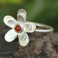 Carnelian flower ring, 'Sunlit Frangipani' - Hand Made Floral Sterling Silver and Carnelian Cocktail Ring