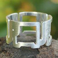 Sterling silver band ring, 'Elephant Line' - Sterling Silver Band Ring