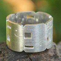 Sterling silver band ring, 'Elephant Stack'
