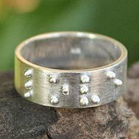 Sterling silver band ring, 'Braille Love'