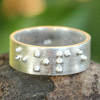 Sterling silver  band ring, 'Braille Hope'