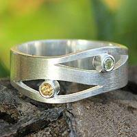 Citrine and peridot band ring, 'Revelations'