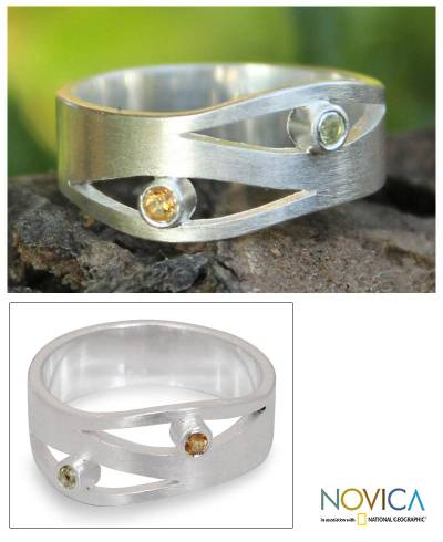 Citrine and peridot band ring, 'Revelations' - Handcrafted Silver and Citrine Band Ring