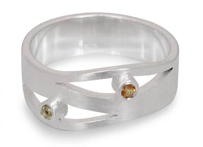 Handcrafted Silver and Citrine Band Ring