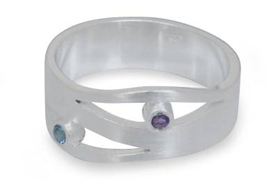 Amethyst and Blue Topaz Silver Ring