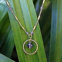 Gold plated amethyst pendant necklace, 'Morning in Thailand'