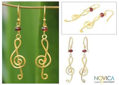 Gold vermeil garnet chandelier earrings, Thai Melody
