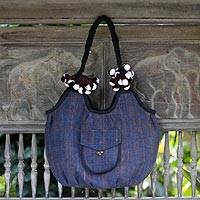 Cotton hobo bag, 'Chiang Rai Winter' - Handcrafted Cotton Hobo Handbag from Thailand