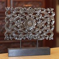 Wood sculpture, 'Floral Magnificence' - Wood Flower Sculpture