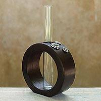 Mango wood and pewter vase, 'Daisy Cycles' - Modern Mango Wood Vase from Thailand