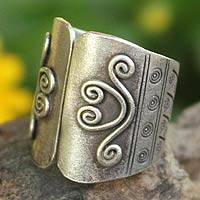 Sterling silver band ring, 'Proud of Mae Ping'