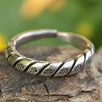 Sterling silver flower ring, 'Hill Tribe Jasmine' - Handcrafted Floral Sterling Silver Band Ring from Thailand