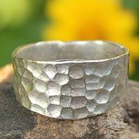Sterling silver cocktail ring, 'Bangkok Moonlight' - Sterling Silver Band Ring