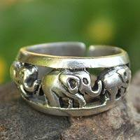 Sterling silver band ring, 'Siam Elephants' - Handmade Sterling Silver Band Ring