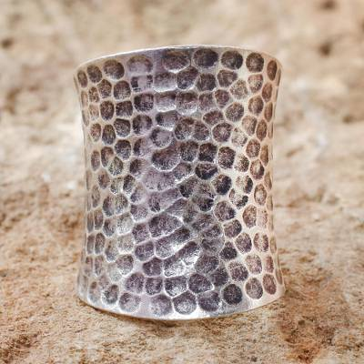Sterling silver cocktail ring, 'Chiang Mai Moonlight' - Unique Sterling Silver Band Ring from Thailand