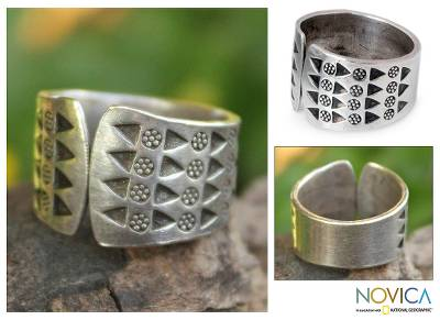 silver dollar coin rings - Floral Sterling Silver Wrap Ring from Thailand