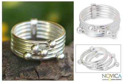Sterling silver stacking rings, 'Planets' (set of 5) - Sterling Silver Ring from Thailand