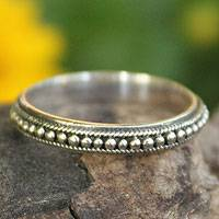 Sterling silver band ring, 'Circle of Stars' - Thai Sterling Silver Bead Design Band Ring