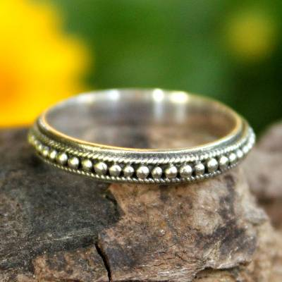 silver ring engraving opal mining - Thai Sterling Silver Bead Design Band Ring