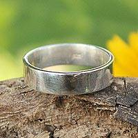 Sterling silver band ring, 'Fidelity and Trust' - Hand Crafted Sterling Silver Band Ring