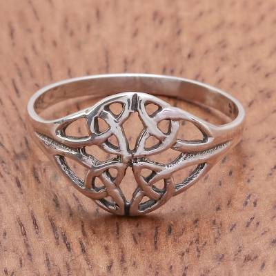 Sterling silver cocktail ring, 'Always Together' - Unique Sterling Silver Band Ring