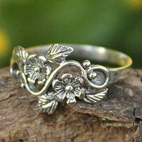 Sterling silver flower ring, 'Siam Bouquet' - Flower and Leaf Sterling Silver Band Ring from Thailand