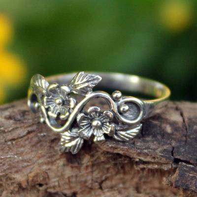 handmade sterling silver necklace - Flower and Leaf Sterling Silver Band Ring from Thailand