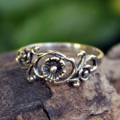silver ring dolphin fish - Floral Sterling Silver Band Ring from Thailand