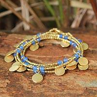 Gold plated wrap bracelet, 'Ocean Suns' - Artisan Crafted Gold Plated Quartz Wrap Bracelet