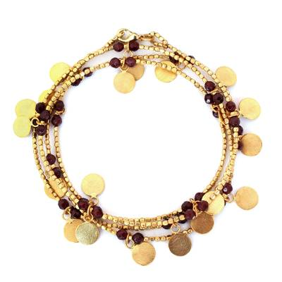 Gold plated wrap bracelet, 'Golden Suns' - Handmade Gold Plated Garnet Charm Bracelet