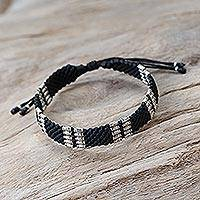 Silver accent wristband bracelet Hill Tribe Harvest (Thailand)