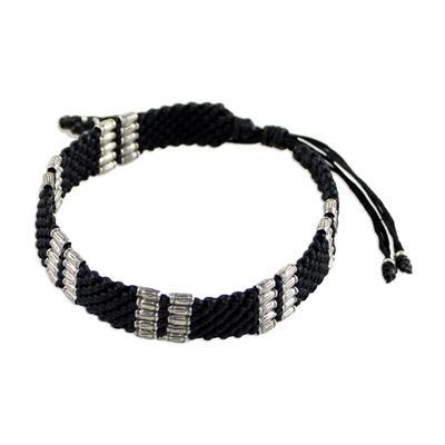 Silver accent wristband bracelet