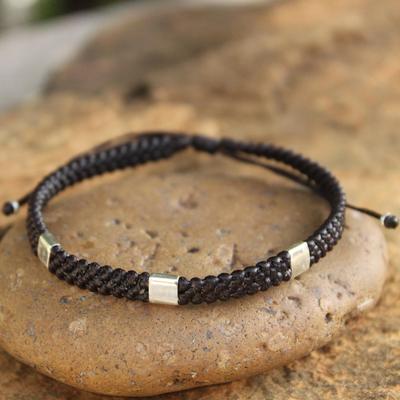 Silver accent wristband bracelet, 'Three Kingdoms' - Silver Braided Bracelet