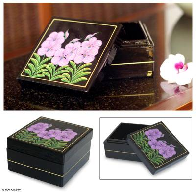 Lacquered wood box, 'Purple Vanda Orchid' - Lacquered wood box